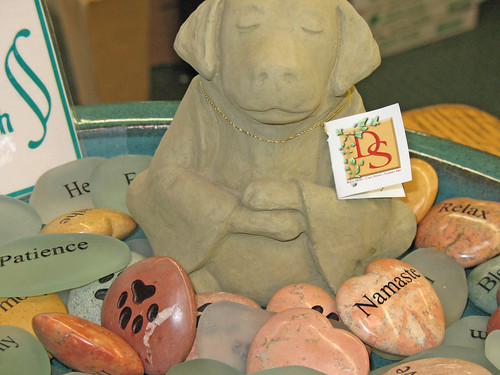 namaste stone with meditating dog