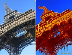 Eiffel Tower Makeover (fabionei) Tags: paris france tower photoshop melting eiffel makeover cs4 driping
