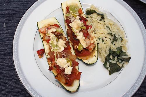 Mediterranean Stuffed Zucchini with Feta-Pepper Sauce 1