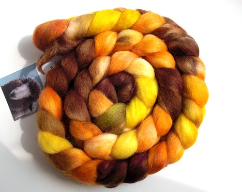 4.2oz 70-30 merino-mohair Fallen Leaves by travelingrhinos, a gift from Chawne