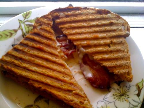 quick eats: panini press applewood smoked bacon & provolone
