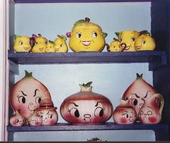 PY Anthropomorphic Pears and DeForest Bar-B-Cutie Onions (Cathygio) Tags: old cute face smiling japan fruit vintage happy head antique cartoon kitsch housewares vegetable retro 1950s pear pottery onion veggie coronet whimsical cookiejar py kitchenware californiapottery holthoward deforest deforrest barbcutie onionware