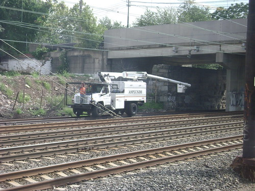 SEPTA employees on the R1 track