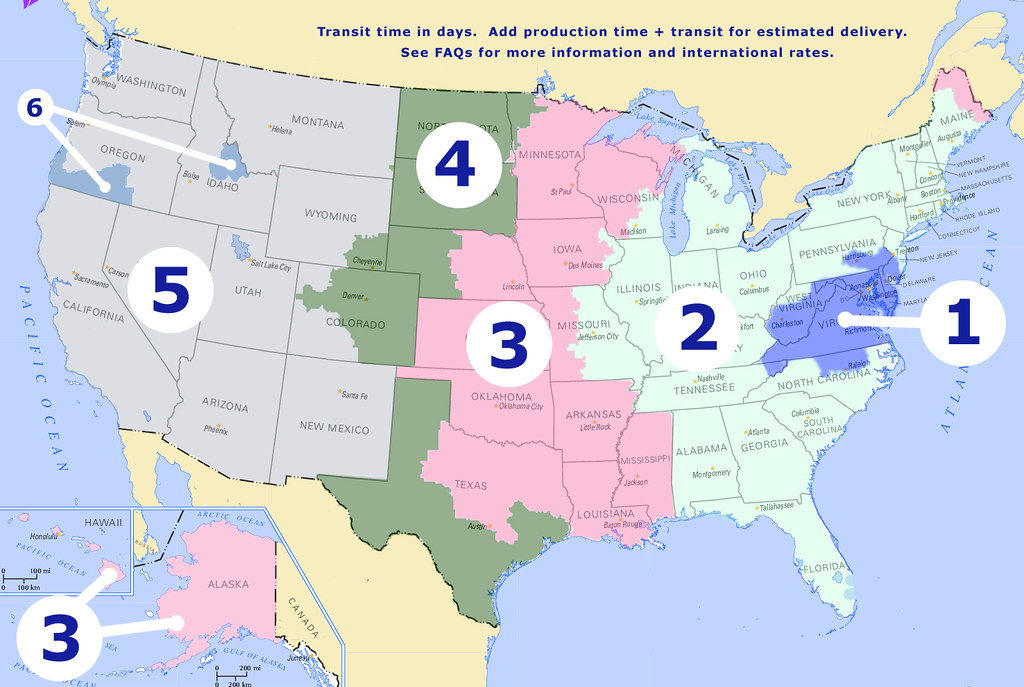 Shipping Info Indigo Night - Us postal zone map