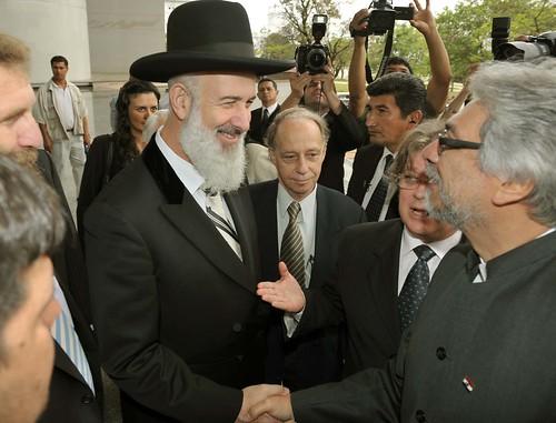 Fernando Lugo es saludado por Yona Metzger, Gran Rabino Askenazi de Israel