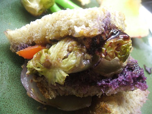 peanut butter,grilled onions,brussel sprout,tomato sammich2