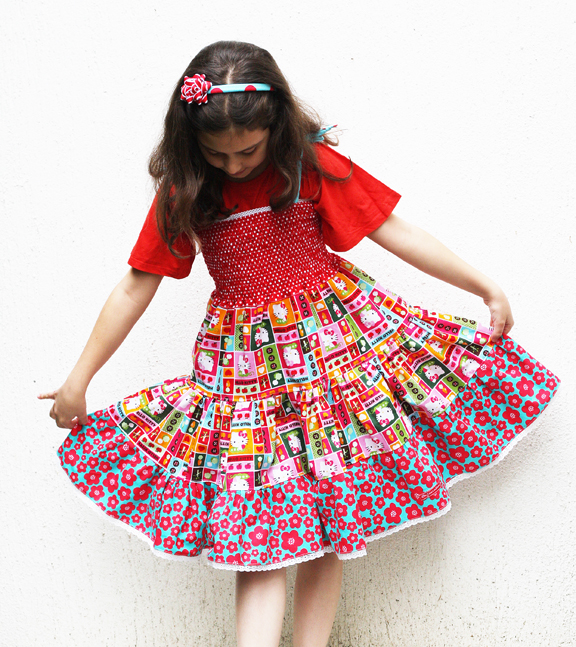 Hello Kitty shirred dress