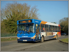 35218, Hillmorton (Jason 87030) Tags: hillmorton wcml roadside oldroyaloak stagecoach 35218 dennis dart kx56jyy 96 rugby northampron february 2017 sunny sony ilde alpha a6000 nex ilce lens shot transport bus warwickshire warks