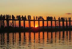 Sunset bridge (tom_2014) Tags: ubeinteakbridge ubeinbridge bridge ubein mandalay burma burmese teak myanmar teakbridge travel landmark sun sunset light dusk silhouette people figures asia asian southeastasia