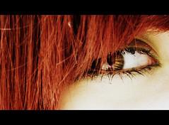 (Lara) Tags: red portrait brown macro green eye girl smile project hair see 4 365