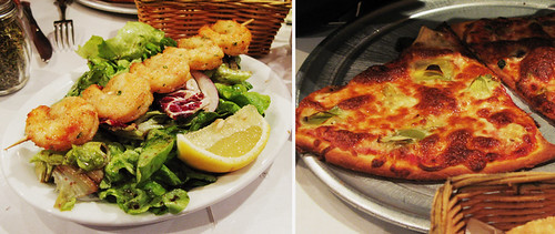 L'Osteria del Forno shrimp salad and pizza