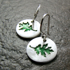 Shade Earrings (Destiny's Creations) Tags: urban green art glass leaves metal modern silver leaf spring coin recycled fine jewellery disk clay precious friendly acs earrings wearable disc eco emerald artisan brushed reclaimed creations pmc enamel destinys