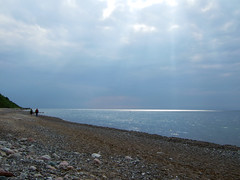 Hiddensee Sunbeams (chr1schi) Tags: blue sea sky nature island rocks meer stones bluesky f30 finepix fujifilm ostsee hiddensee mystic leuchtturm sunbeams
