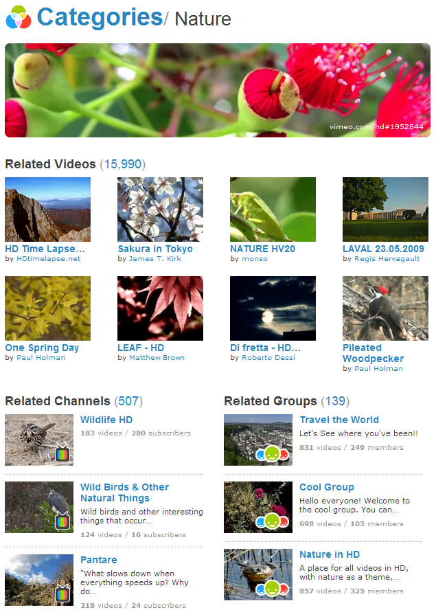 vimeo categories - nature