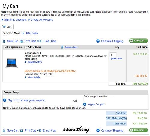 Before discount RM599 Dell Mini 9