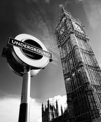 The 'Clich' Big Ben Shot (Philipp Klinger Photography) Tags: uk houses light shadow england sky bw sun white black london westminster up sign clouds facade underground blackwhite big nikon europe ben britain pov united great perspective kingdom parliament palace gb philipp topf200 klinger flickrsbest superaplus aplusphoto d700 dcdead