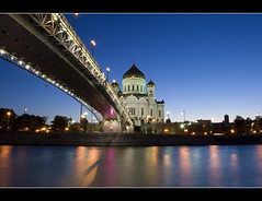 The cathedral in spring night (Wowe101) Tags: bridge urban reflection night river spring nikon long exposure christ cathedral russia moscow most elite sahabat flickers the saviour d40 of sejati