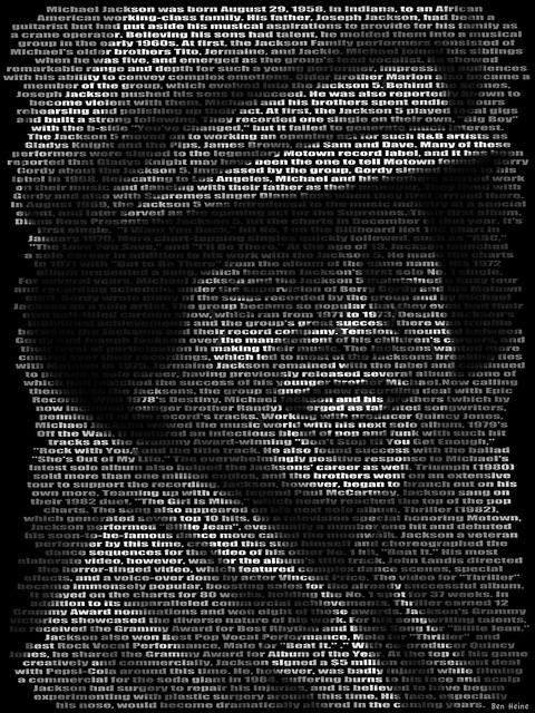 Michael Jackson Text Portrait by Ben Heine