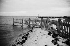 (Emma Werderman) Tags: ocean wood sky blackandwhite bw beach water monochrome night clouds evening bay newjersey sand gate atlantic vignette