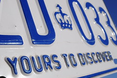 Yours to Discover (Triborough) Tags: blue white ontario macro text plate licenseplate license embossed embossing torontoist
