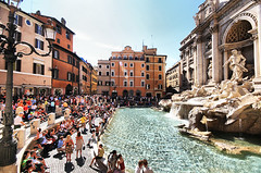 Rome (` Toshio ') Tags: people italy sculpture rome water fountain architecture buildings italian europe roman crowd trevi trevifountain europeanunion toshio