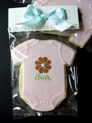 Custom Baby Onsie Decorated Sugar Cookie Flower (Sugar Envy) Tags: baby flower shower cookie sugar favors onesie decorated sugarenvy