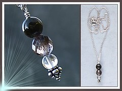 """The """" Goddess of Shadows """" Handcrafted Black Tourmaline, Smoky Quartz and Rock Crystal Pendant (Uncle Muckle Plays With His Pretties) Tags: silver october ebay leo crystal handmade jewelry jewellery handcrafted quartz pendant tourmaline birthstone gemstone smokeyquartz smokyquartz octoberbirthstone leobirthstone"""