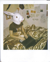Bunny Top (Cloudss) Tags: old costumes rabbit bunny film girl polaroid weird scary different mask circus laptop surreal freaky retro masks indie developed dressups animalmask animalhead
