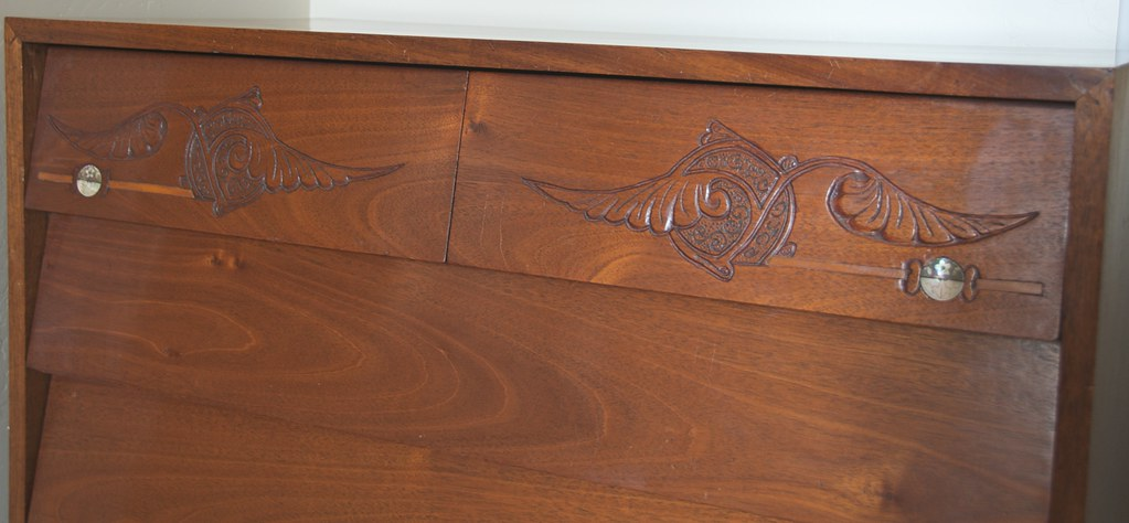 Detail - Carving and Inlay on Top Drawers - Mother's Mid-Century-Modern Bureau