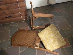 old chair in pieces