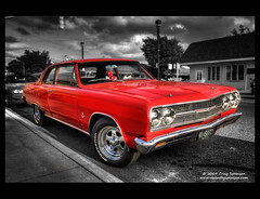 1965 Chevrolet Chevelle (Cygnus~X1 - Visions by Sorenson) Tags: auto red summer usa chevrolet car canon eos automobile unitedstates fb indiana chevelle explore chevy vehicle 1968 monticello 2009 musclecar selectivecolor courthousesquare whitecounty 50d efs1755mmf28isusm 1968chevroletchevelle cmwdred craigsorenson classiccarsandtrucks ronorr cruisedaytuesdays dianaorr ronanddiana