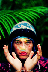 IN HIS HANDS (SARA LEE) Tags: world boy fern reflection green forest dark hawaii eyes hands warm peaceful places symmetry frond jungle bubble symmetrical shack bigisland cheekbones conceptual plaid mole beanie caleb kona placid subtle kailuakona notunderwater kaloko sarahlee legothenego calebt vivantvie theshotofthissummer