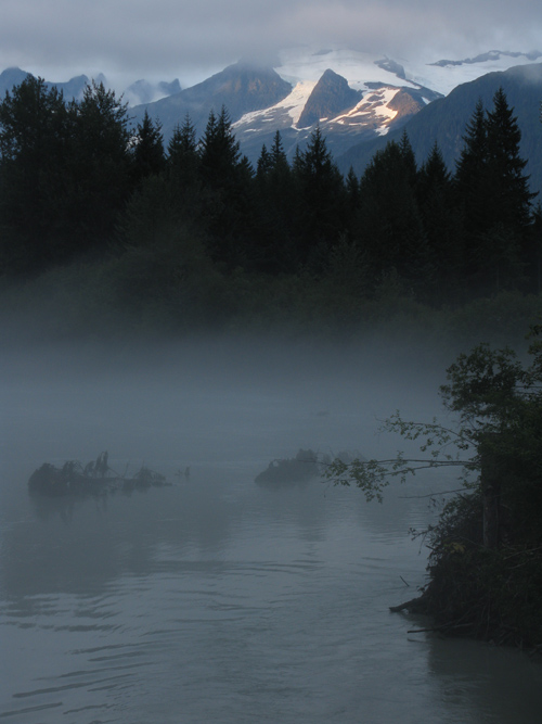 fog on the Mendenhall River, Juneau, Alaska