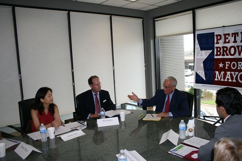 Peter Brown discusses strategy with prominent local business leaders at economic developement roundtable