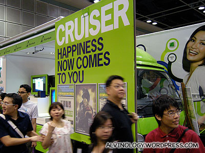 A Starhub booth that seems a little out-of-place