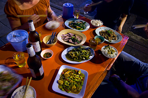 Dishes at Khao Tom Jay Suay, a restaurant in Bangkok's Chinatown