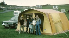 Camping in the seventies (Scuola di Atene) Tags: camping orange brown scotland 1970s seventies orangeandbrowntents