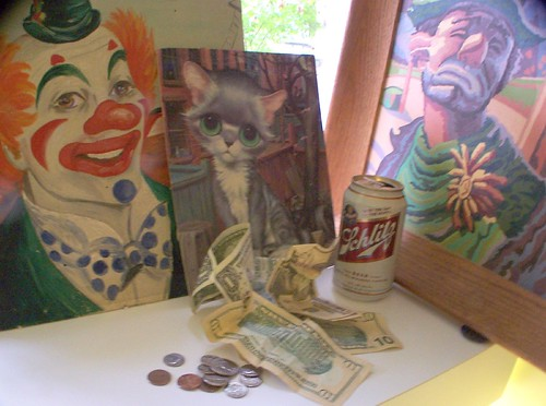 Still Life With Two Clowns, Sad Kitten, Schlitz, and Grant Money