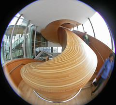 Stair up 8 (kynggefisher) Tags: wood toronto public architecture stair skylight fisheye ago curve frankogehry walkercourt stairsequence