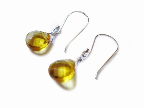 GOLD CITRINE QUARTZ DROP EARRINGS in sterling silver