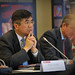 US Commerce Secretary Gary Locke listens.