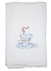 Steeping Tea Embroidered Flour Sack Towel (Closet on Queen Creek) Tags: towels sack flour embroidered