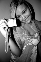 Nikon Coolpix Ad [Black & White] (share your widsom) Tags: summer blackandwhite girl yellow model focus alyssa photograph short blonde teenager 2009 nikoncoolpix canonrebelxsi