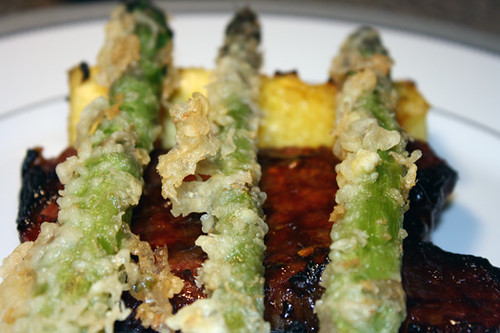 Tempura Asparagus with Asian Glazed Steak, Shitakes, and Grilled Pineapple 3