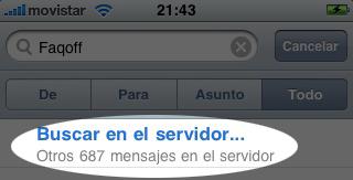 Captura de iPhone con búsqueda
