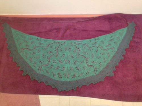 Japanese Feather and Fan shawl in green Buffalo Gold 12 Lux bison yarn colorway pine and Knit Picks Shadow juniper heather
