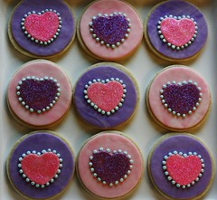 Lemon Sugar Cookies for new baby twin girls (Fields of Cake) Tags: pink hearts purple decoration sugarcookies fondant june2009