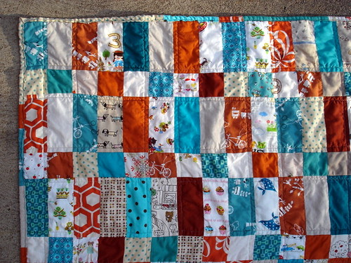 detail of bricks baby quilt