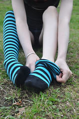 Taking Off (Artistic Feet) Tags: blue woman black cute feet stockings girl yellow socks female fun outside outdoors toes long pretty legs skin artistic outdoor bare gorgeous emo goth smooth arches pale barefoot kawaii heels expressive stripey soles striped ankles