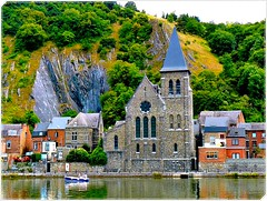 Meuse river in Dinant (jackfre2-Fllickr connections get worse everyday!!!) Tags: trees houses church water reflections river boat rocks belgium ardennes hills roofs slope dinant meuse churchspire aplusphoto